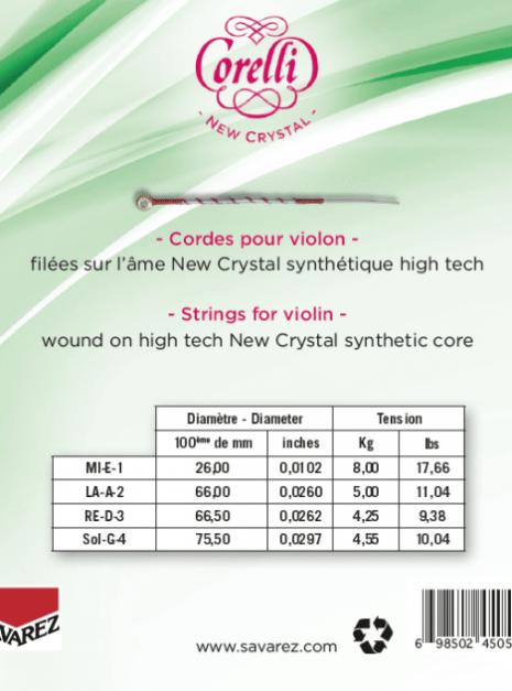 Jeu de cordes Corelli New Crystal pour violon moyenne-faible - dos