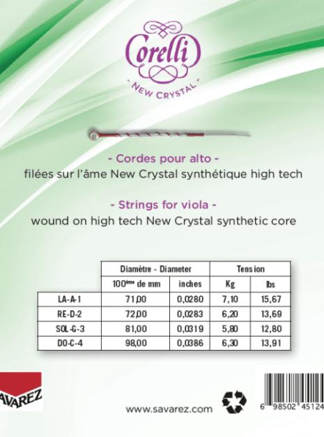 Cordes Corelli New Crystal pour alto, tension légère, tableaux