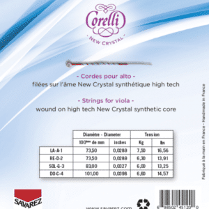 Cordes Corelli New Crystal pour alto, tension moyenne, tableaux