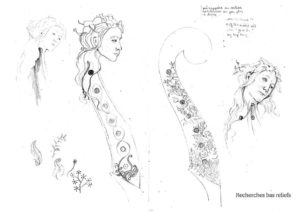 Dessins de recherche sur la viole Printemps par Elsa M Deluca.