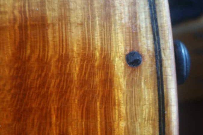 Un violon authentique, filet et cheville suspect