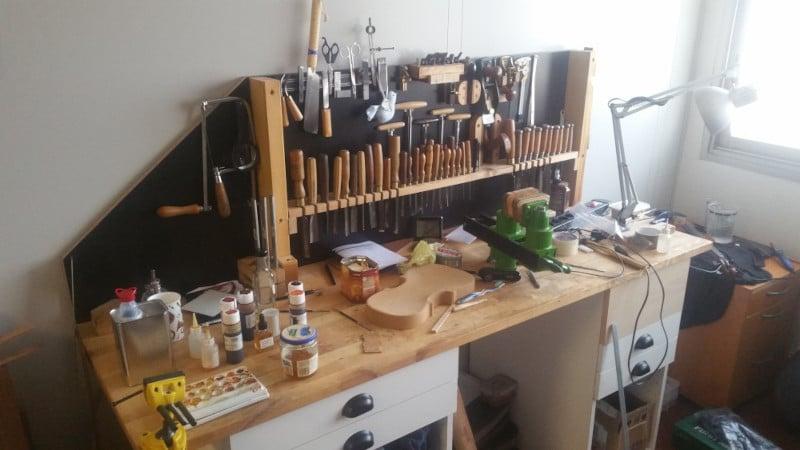 Mes anciens établis de luthier à l'Hôtel des Forges (le premier)